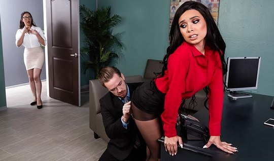 The Secretary in the office spread her legs in stockings and framed pussy for vaginal