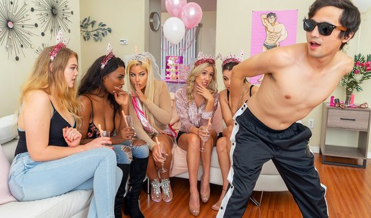 Moms at the party have fun in the company of a young stripper