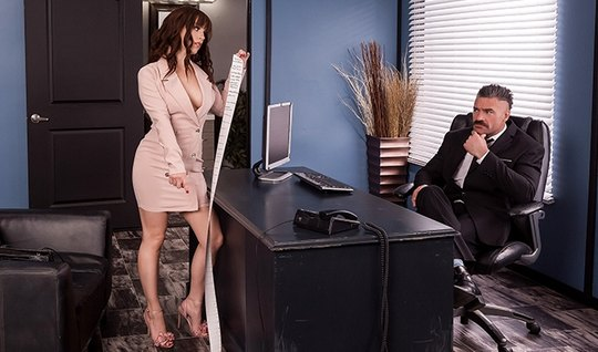 In the office brunette Secretary gives boss to fuck himself right on the table
