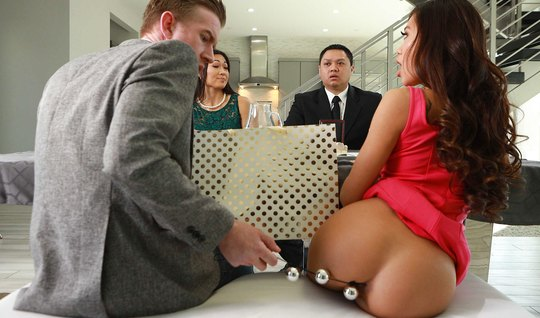 Businessman after business meeting fucked anally by partner's asian wife