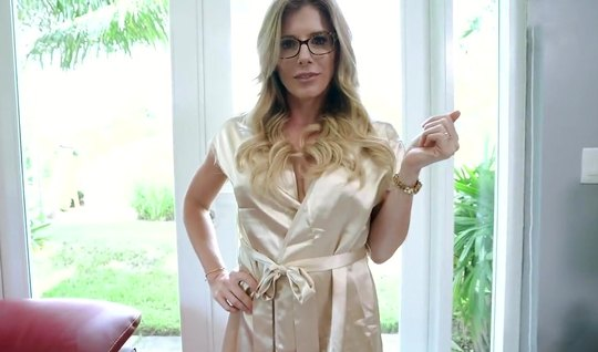 Mom in glasses from the first person takes a big juicy cock on the cheek and gets high