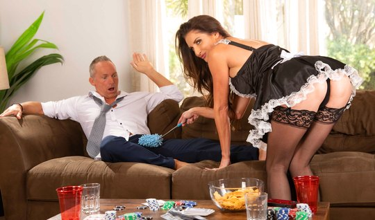 Mature maid in stockings is set to fuck a long time with a vulgar businessman
