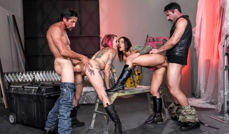 Experienced bikers staged with davalok nice Threesome
