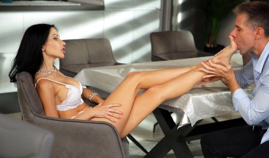 Russian brunette on a chair substitutes a juicy pussy for vaginal, and legs for foot fetish