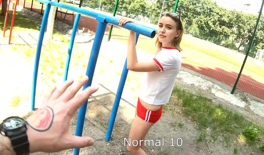 Russian girl in public spreads her legs for sex in front of the camera