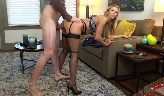Mom in stockings right in the office substitutes a juicy crotch for love