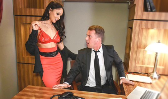 Strong man pulls luxury Secretary with a perfect figure