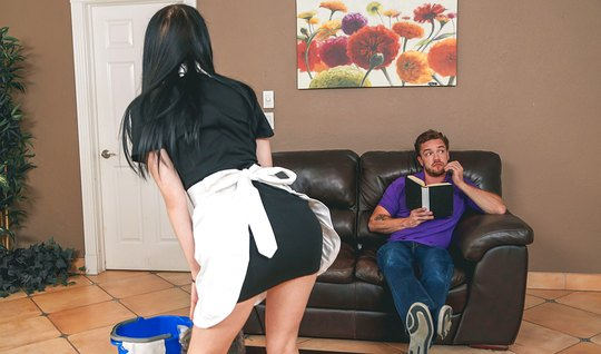 Slender brunette in the role of a maid won handsome in jeans