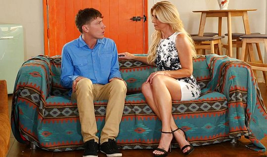 Blonde mother seduced son for a passionate fuck on the sofa