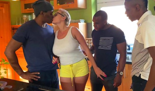 Mature lady after blowjob blacks framed holes for double penetration