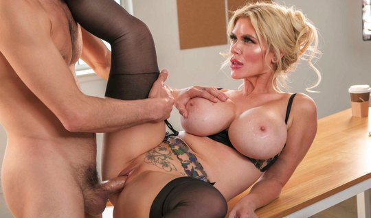 Mom in stockings substitutes big milkings and pussy for sex with a guy