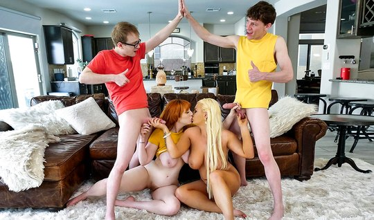 Mom in stockings and her friend arranged a real gang bang for the guys