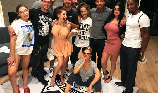 During a porn parody, sex stars staged a real gangbang