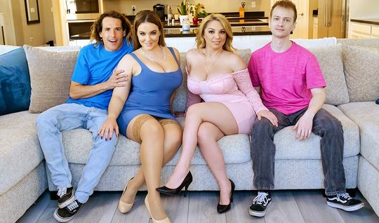 Two mothers and their young guys staged swinger sex in a variety of positions