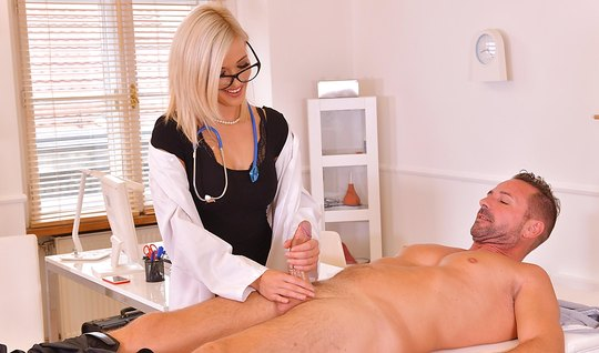 Blonde nympho jerked off a patient phallus and sat on the member