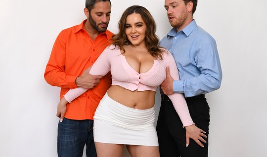 A lady with big milkings agreed to group sex with two guys