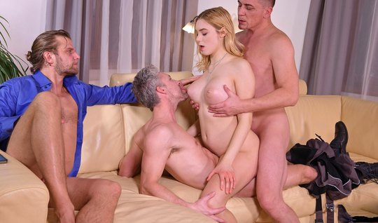 Three guys decided to give one blonde anal with double penetration