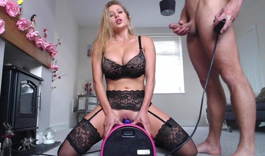 The beauty in stockings first jumped on a sex toy, and then on a dick