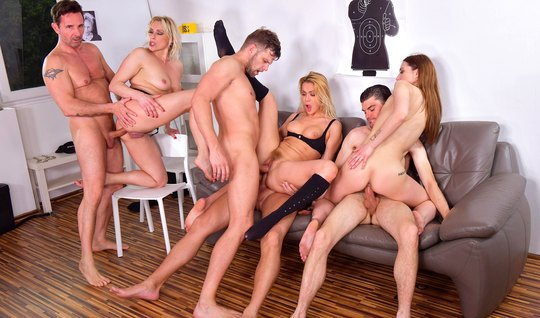 During an orgy, beauties with tight holes get double penetrated