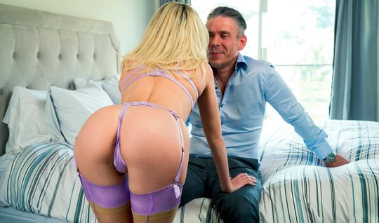Blonde in stockings during sex with her stepfather gets an orgasm and takes cum