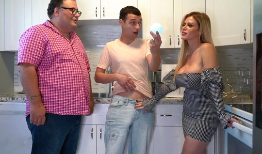 Tattooed mom with big milkings cheats on her husband with his young son