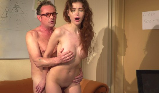 Young brunette gives herself to older teacher with glasses and brings him to orgasm
