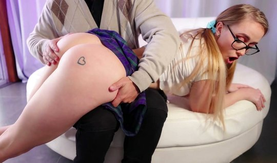 Blonde in glasses substitutes a juicy ass for anal sex on camera