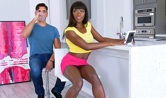 Little black girl in a short skirt seduced lover and gave herself to him in the kitchen