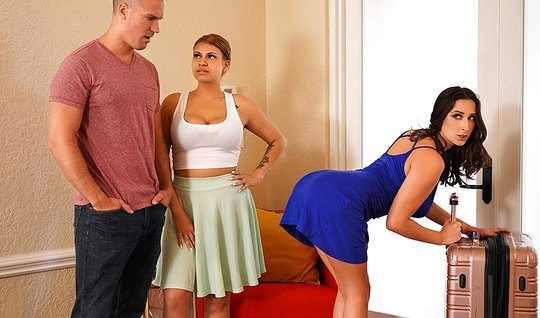 Bald guy cheats on his wife with Apostol brunette in bedroom close up