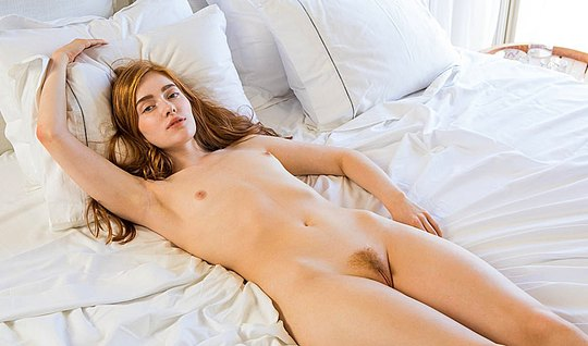The redhead got naked in front of sexy man and gave him the closeup