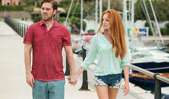 Redhead girlfriend seduced guy beautiful sex after a walk