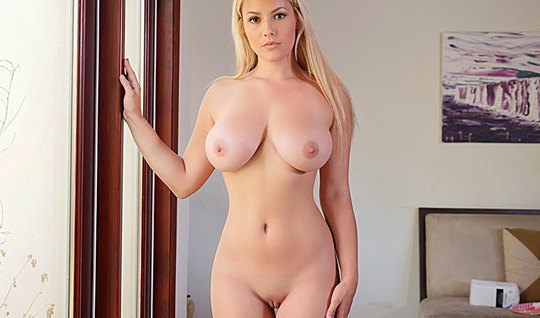 Blonde with big milkings undressed and started to fuck with her lover