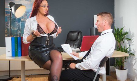 Busty woman fucked with boss in the office