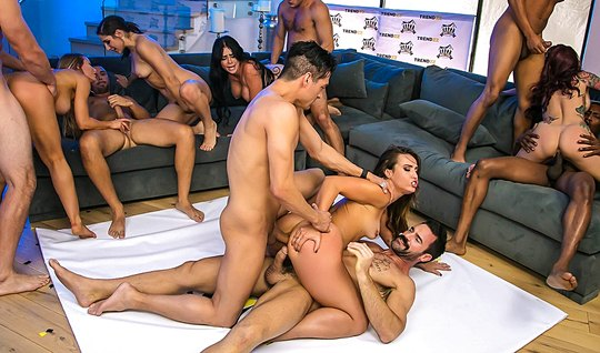 Hot girl at party getting fucked with friend in an Orgy
