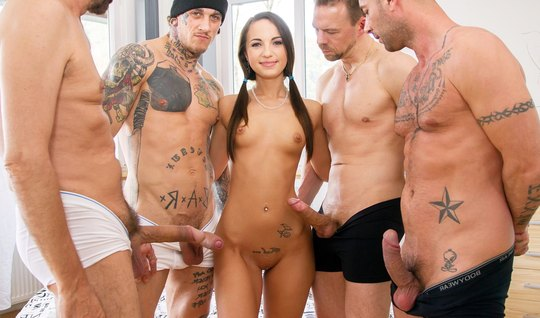 Slender beauty roughly fucked at the same time, the group of lovers