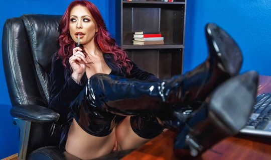 Redhead bitch in latex stripped in front of the boss and seduced him for sex