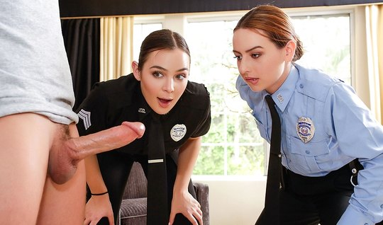 Two lustful employee of the police fucked by intruder