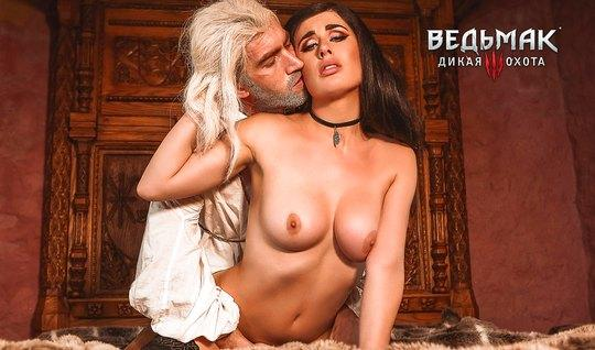 Brunette with beautiful Breasts Fucks with unshaven lover in the twilight