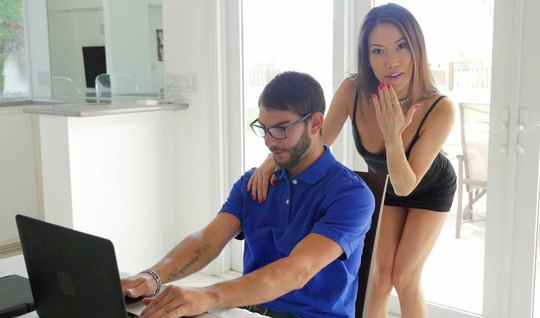 Slim Asian girl stick to the gamer and allows him to lick pussy
