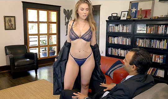 Girl in sexy lingerie suck a business man in office