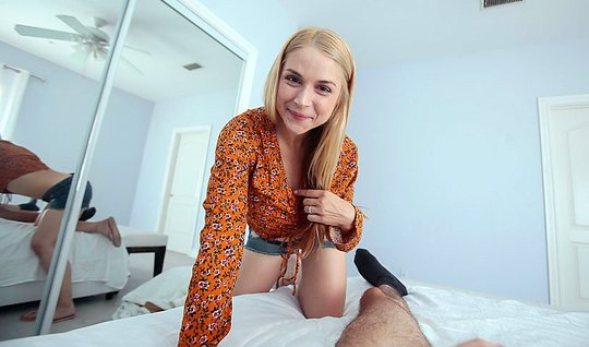 Blonde dominates over her lover and rides on his penis after Blowjob