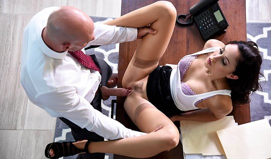The bald boss hard fuck young girl in office