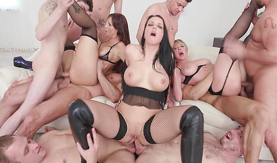 A group of men fuck a delicious fatties in lingerie