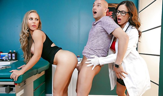 Group sex with appetizing nurse excites a pair of Swingers
