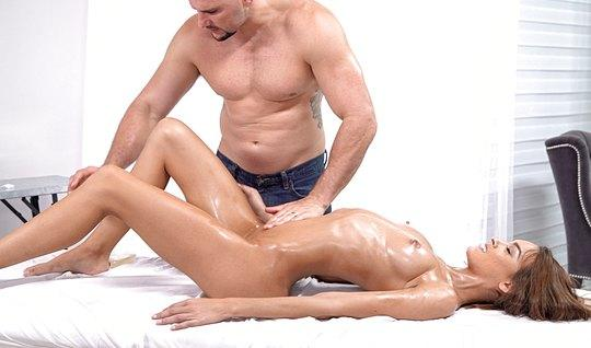 Slim in oil loves anal sex which has an orgasm