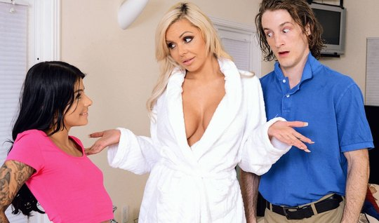 Curly guy fucked his young wife and her Busty nurse