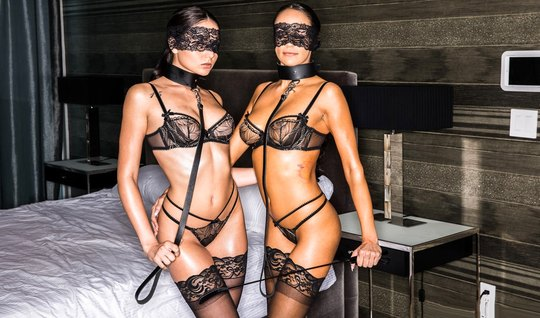 Beautiful slave girl in stockings gave the man a chic Threesome