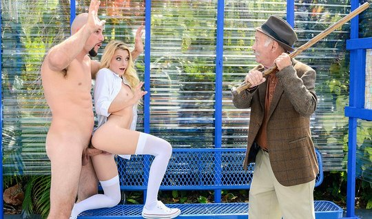 Young blonde in stockings gets fucked in a public place