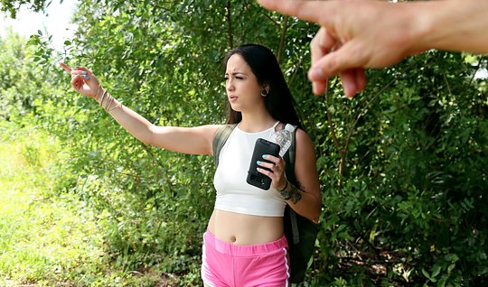 Young student fuck girlfriend on nature in the narrow anal doggy style and pussy