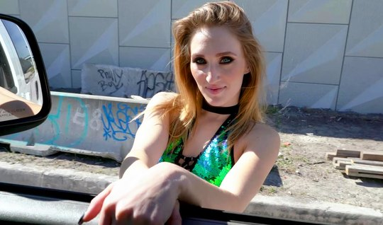 Skinny redhead girl for money rides in a car on a guys dick without condom